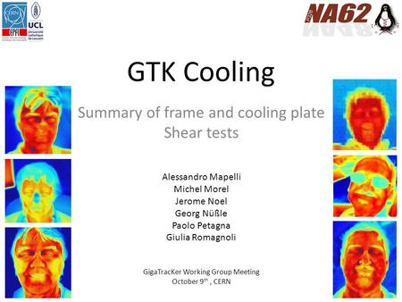 GTK Cooling Summary of frame and cooling plate Shear tests Alessandro Mapelli Michel Morel Jerome Noel Georg Nüßle Paolo Petagna Giulia Romagnoli GigaTracKer.