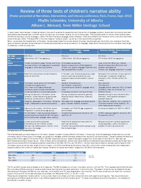 Review of three tests of children's narrative ability [Poster presented at Narratives, Intervention, and Literacy conference, Paris, France, Sept. 2012]