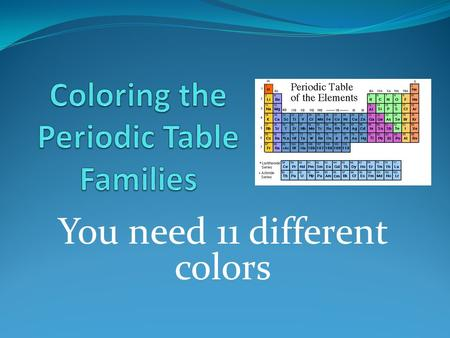 You need 11 different colors. Families on the Periodic Table Elements on the periodic table can be grouped into families bases on their chemical properties.
