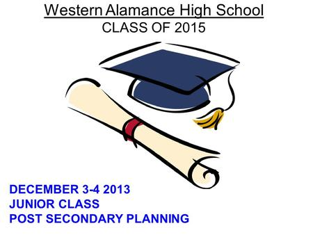 Western Alamance High School CLASS OF 2015 DECEMBER 3-4 2013 JUNIOR CLASS POST SECONDARY PLANNING.