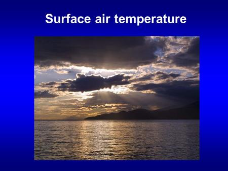 Surface air temperature. Review of last lecture Earth's energy balance at the top of the atmosphere and at the surface. What percentage of solar energy.