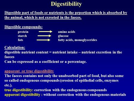 Digestible compounds: protein amino acids
