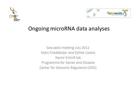 Ongoing microRNA data analyses Geuvadis meeting July 2012 Marc Friedländer and Esther Lizano Xavier Estivill lab Programme for Genes and Disease Center.