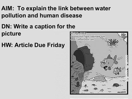 AIM: To explain the link between water pollution and human disease