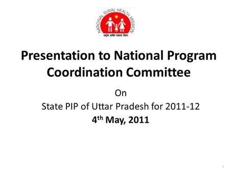 Presentation to National Program Coordination Committee