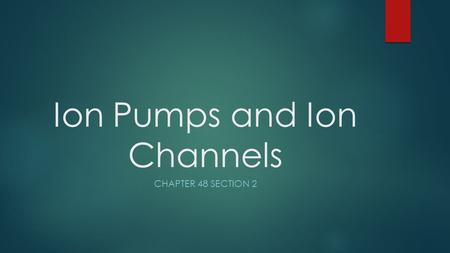 Ion Pumps and Ion Channels CHAPTER 48 SECTION 2. Overview  All cells have membrane potential across their plasma membrane  Membrane potential is the.