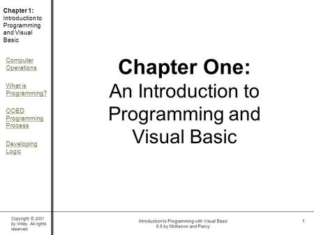 Copyright © 2001 by Wiley. All rights reserved. Chapter 1: Introduction to Programming and Visual Basic Computer Operations What is Programming? OOED Programming.