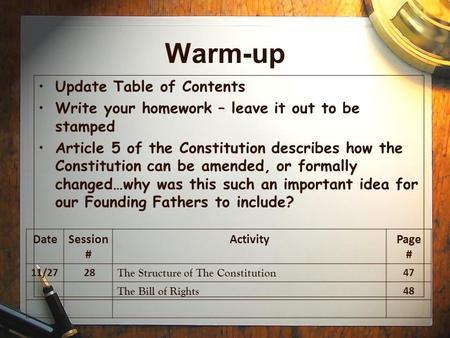 Warm-up Update Table of Contents Write your homework – leave it out to be stamped Article 5 of the Constitution describes how the Constitution can be amended,