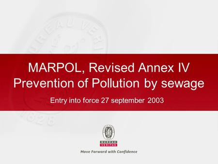 MARPOL, Revised Annex IV Prevention of Pollution by sewage