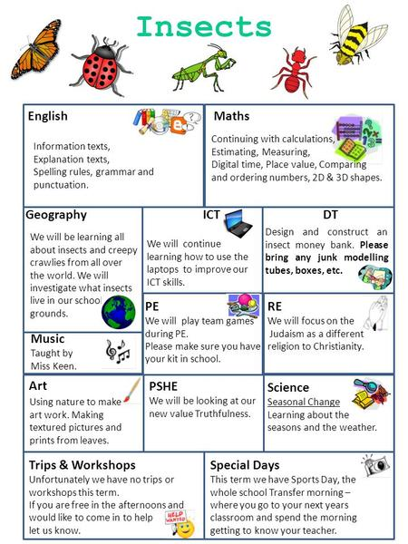 English Maths Geography ICT DT Music Taught by Miss Keen. PE We will play team games during PE. Please make sure you have your kit in school. RE We will.