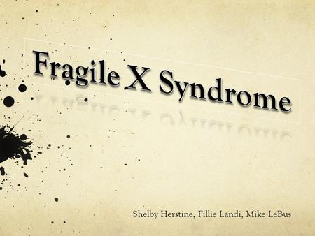 Shelby Herstine, Fillie Landi, Mike LeBus. What is Fragile X Syndrome? Fragile X syndrome is a disease that causes mental retardation and other physical.