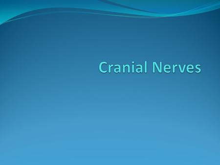 Label & Describe the Nerve Functions CRANIAL NERVES NOTES 1-4 I. Olfactory Sensory from olfactory receptors in nasal cavity Smell tests II. Optic Thru.