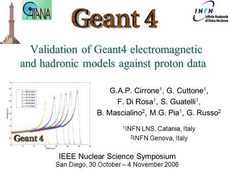 Geant4-INFN (Genova-LNS) Team Validation of Geant4 electromagnetic and hadronic models against proton data Validation of Geant4 electromagnetic and hadronic.