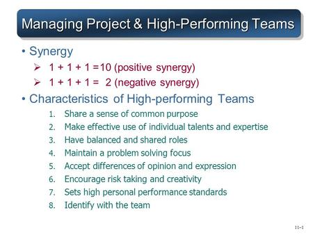 Managing Project & High-Performing Teams