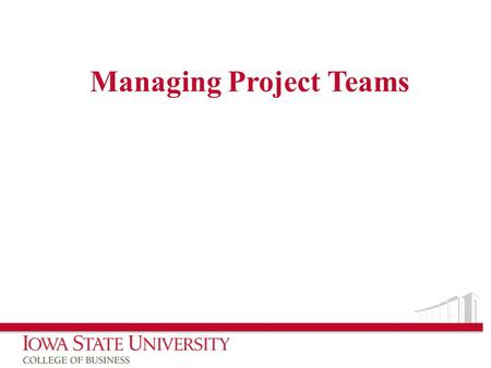 Managing Project Teams. Facts Most important and expensive component of a project are those involved directly or indirectly with the project personnel.