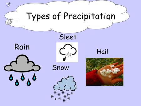 Rain Sleet Snow Hail Types of Precipitation. Precipitation Starts With Different Air Masses Being Pushed Around by Global Winds High pressured air mass.