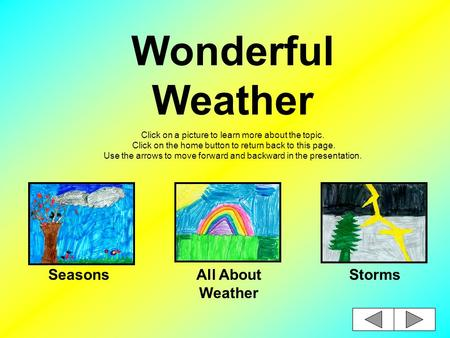 Wonderful Weather Click on a picture to learn more about the topic. Click on the home button to return back to this page. Use the arrows to move forward.