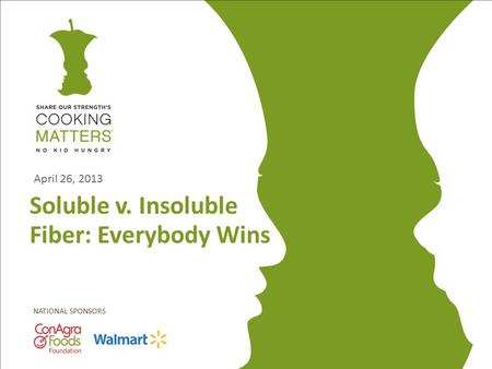 NATIONAL SPONSORS Soluble v. Insoluble Fiber: Everybody Wins April 26, 2013.