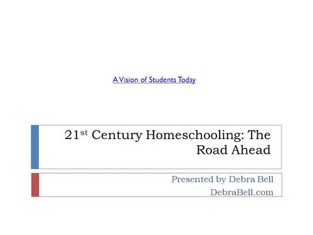 21 st Century Homeschooling: The Road Ahead Presented by Debra Bell DebraBell.com A Vision of Students Today.