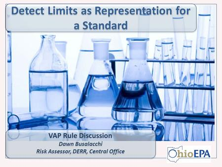Detect Limits as Representation for a Standard VAP Rule Discussion Dawn Busalacchi Risk Assessor, DERR, Central Office VAP Rule Discussion Dawn Busalacchi.
