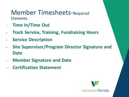 Member Timesheets-Required Elements