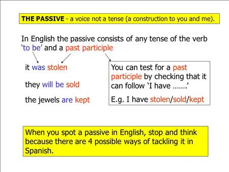 THE PASSIVE - a voice not a tense (a construction to you and me). In English the passive consists of any tense of the verb 'to be' and a past participle.
