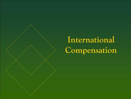 International Compensation. 1. Identify the four general factors in the global guide to international compensation and be able to apply the global guide.