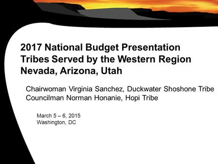 2017 National Budget Presentation Tribes Served by the Western Region Nevada, Arizona, Utah Chairwoman Virginia Sanchez, Duckwater Shoshone Tribe Councilman.