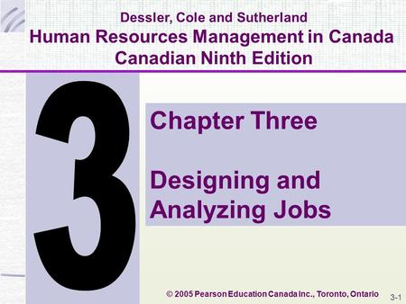 Dessler, Cole and Sutherland Human Resources Management in Canada Canadian Ninth Edition Chapter Three Designing and Analyzing Jobs © 2005 Pearson Education.