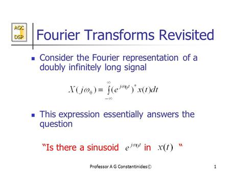 Fourier Transforms Revisited