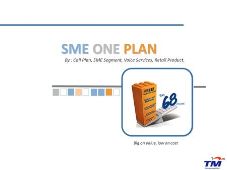1 SME ONE PLAN By : Call Plan, SME Segment, Voice Services, Retail Product. Big on value, low on cost.