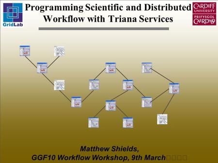 Programming Scientific and Distributed Workflow with Triana Services Matthew Shields, GGF10 Workflow Workshop, 9th March.