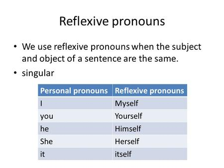 Reflexive pronouns We use reflexive pronouns when the subject and object of a sentence are the same. singular Personal pronounsReflexive pronouns IMyself.