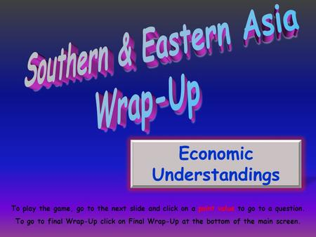 Economic Understandings To play the game, go to the next slide and click on a point value to go to a question. To go to final Wrap-Up click on Final Wrap-Up.