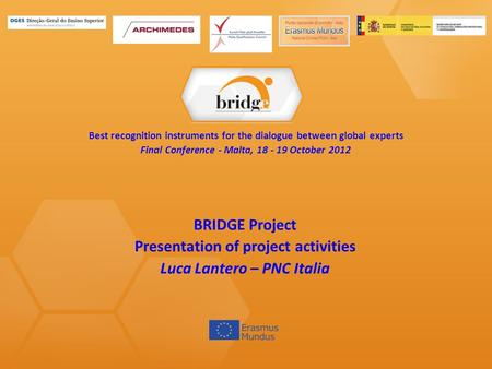 Context, Objectives and different Actions of the BRIDGE Project Luca Lantero PNC - Punto nazionale di contatto BRIDGE Kick-off meeting Rome, 12 November.