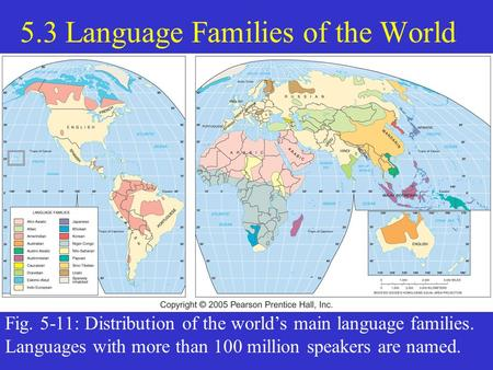 5.3 Language Families of the World Fig. 5-11: Distribution of the world's main language families. Languages with more than 100 million speakers are named.