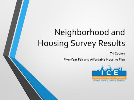 Neighborhood and Housing Survey Results Tri-County Five-Year Fair and Affordable Housing Plan.