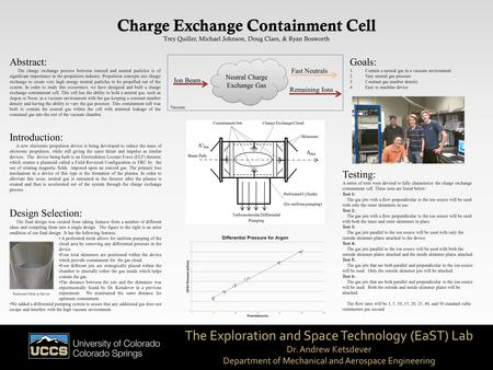 The Exploration and Space Technology (EaST) Lab Dr. Andrew Ketsdever Department of Mechanical and Aerospace Engineering Charge Exchange Containment Cell.