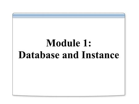 Module 1: Database and Instance. Overview Defining a Database and an Instance Introduce Microsoft's and Oracle's Implementations of a Database and an.