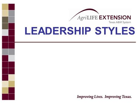 LEADERSHIP STYLES.