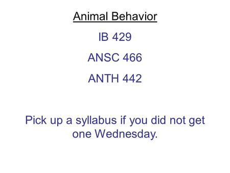 Animal Behavior IB 429 ANSC 466 ANTH 442 Pick up a syllabus if you did not get one Wednesday.