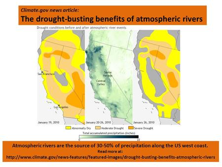 Climate.gov news article: The drought-busting benefits of atmospheric rivers Atmospheric rivers are the source of 30-50% of precipitation along the US.