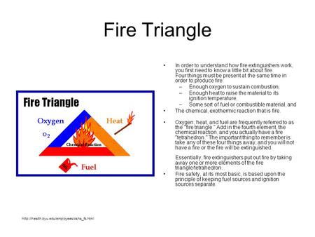 Fire Triangle In order to understand how fire extinguishers work, you first need to know a little bit about fire. Four things must be present at the same.
