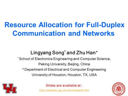Resource Allocation for Full-Duplex Communication and <strong>Networks</strong>