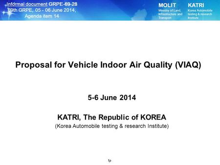 Proposal for Vehicle Indoor Air Quality (VIAQ)