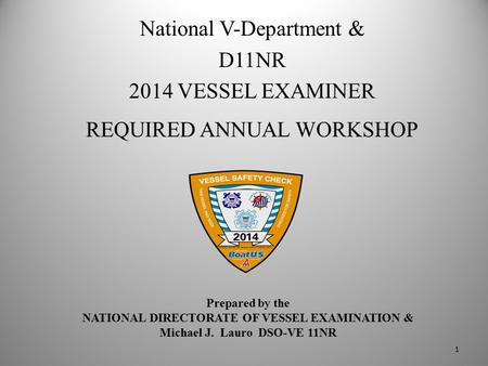 Prepared by the NATIONAL DIRECTORATE OF VESSEL EXAMINATION & Michael J. Lauro DSO-VE 11NR National V-Department & D11NR 2014 VESSEL EXAMINER REQUIRED ANNUAL.