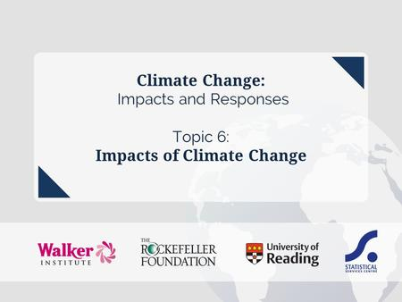 Climate Change: Impacts and Responses Topic 6: Impacts of Climate Change topic 6 – Impacts of climate change.