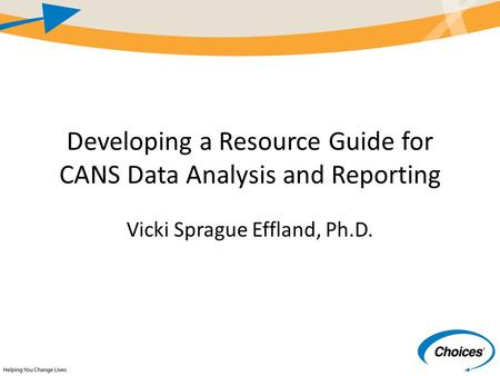 Developing a Resource Guide for CANS Data Analysis and Reporting Vicki Sprague Effland, Ph.D.