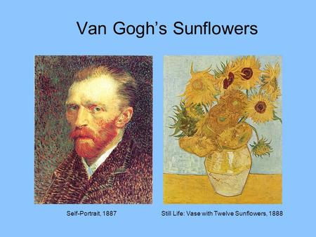 Van Gogh's Sunflowers Self-Portrait, 1887
