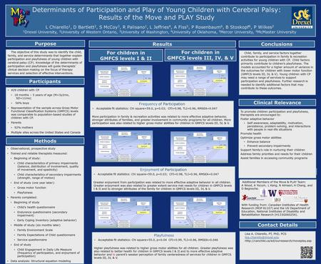 Determinants of Participation and Play of Young Children with Cerebral Palsy: Results of the Move and PLAY Study L Chiarello 1, D Bartlett 2, S McCoy 3,